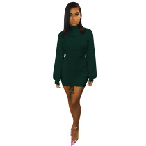 Dark Green Long Lantern Sleeve Bodycon Dress TQS320013-36