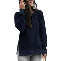Navy Blue Button up Split Long Sleeve Sweatshirt TQK230022-34