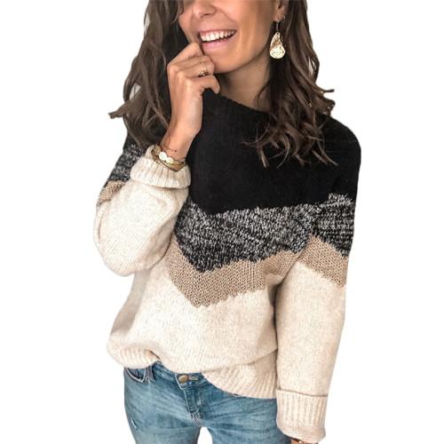 Black Colorblock Raglan Sleeve Knit Sweater TQK271050-2