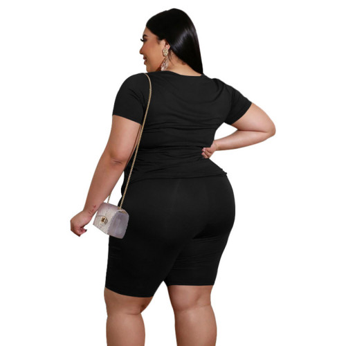 Black V Neck Plus Size Short Sleeve Shorts Set TQK710095-2