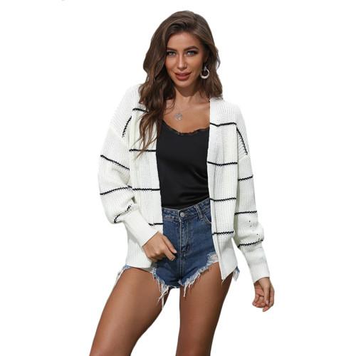 White Striped Long Sleeve Cardigan TQK271084-1