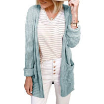 Light Green Waffle Knit Cardigan with Pockets TQK271081-28