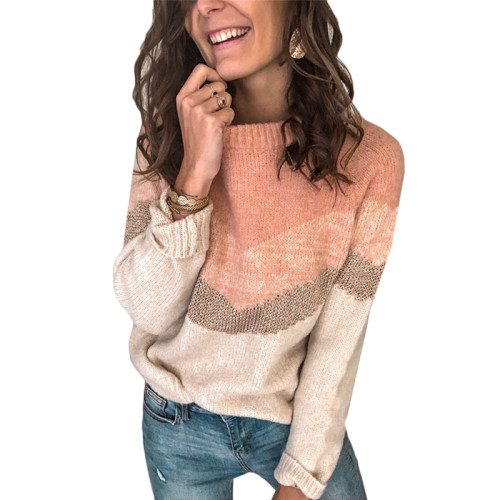 Pink Colorblock Raglan Sleeve Knit Sweater TQK271050-10