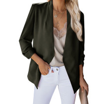 Army Green 3/4 Sleeve Lightweight Blazer With Pockets TQK260015-27 (This items size is smaller, pls