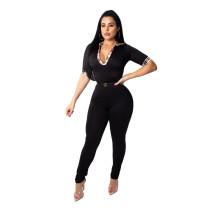 Black Plaid Neck Short Sleeve Jumpsuit
