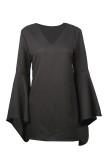 Black V Neck Long Sleeve Blouse Tops TQ00038