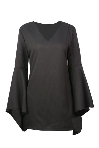 Black V Neck Long Sleeve Blouse Tops TQ00038