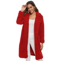 Red Turndown Collar Long Furry Coat TQK280041-3