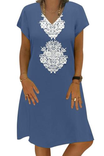 Sky Blue Summer Tribal Print V-Neck Shift Casual Dress