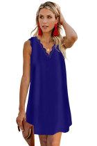 Blue Eyelash V Neck Sleeveless Shift Mini Dress LC221250-5