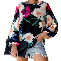 Black Floral Printed Blouse TQK210166-2