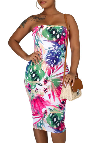 Tropical Print Tube Bodycon Dress LC221291-1