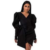Black Asymmetric V Neck Bodycon Dress TQK310184-2