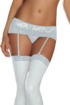 Plus Size White Lace Mesh Garters With G-String LC1072-1P