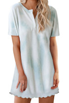 Sky Blue Round Neck Button Tie-Dye Nightgown LC44006-4