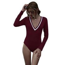 Wine Red Cotton Blend V Neck Bodysuit TQK550198-103