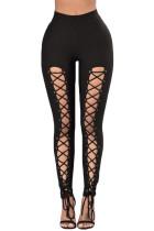 Black Grommet Lace Up Front Leggings
