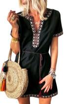Black Summer Boho Embroidered V Neck Short Sleeve Casual Mini Dress