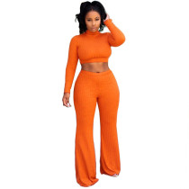 Orange Crop Top with Pant Set