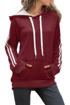 Red Basic Cotton Hoodie with Kangaroo Pocket LC252632-3