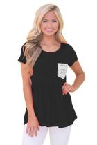 Black Lace Pocket Patch Babydoll Blouse Top