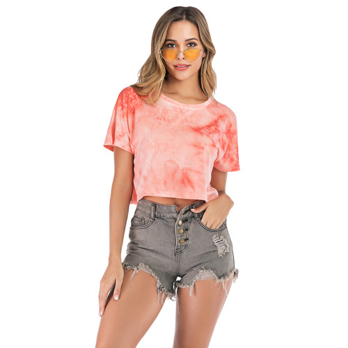 Orange Tie Dye Short Sleeve Crop Top TQK210318-14