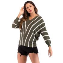 Green Stripes V Neck Bat Sleeve Knit Blouse GZJ0079-9