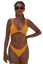 Yellow Knotted Two-piece Bikini Swimsuit LC411958-7