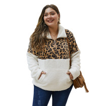 Leopard Print Splice White Zip Collar Plus Size Sweatshirt TQK230102-1