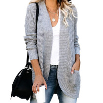 Gray Chunky Wide Cardigan with Pockets TQK271082-11