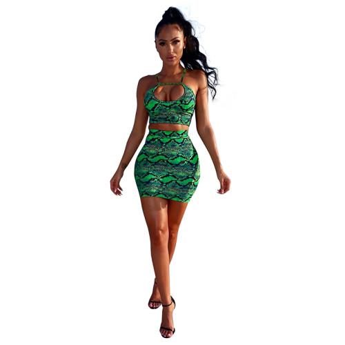 Green Snake Print Crop Top and Skirt Set TQS710028-9