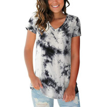 Gray V Neck Tie Dye Short Sleeve Tees TQK210335-11