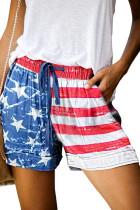 American Flag Drawstring Casual Elastic Waist Pocketed Shorts LC77312-4