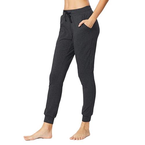 Dark Gray Drawstring Yoga Joggers TQK520022-26
