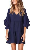 Blue V Neck Ruffled Swing Tunic Shift Dress LC221179-5