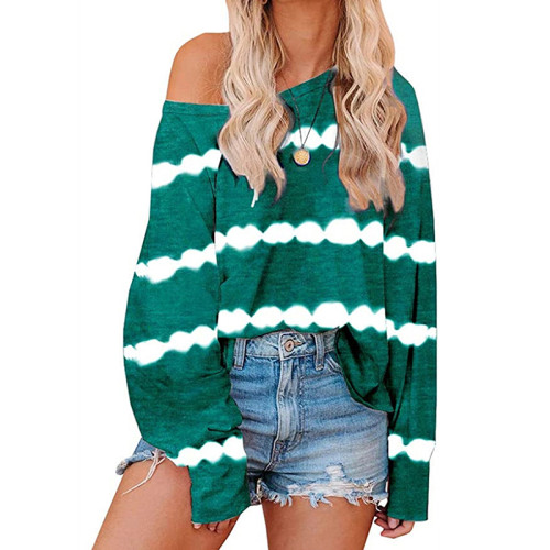 Green Striped Casual Style Long Sleeve Tops TQK210433-9