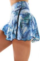 Sky Blue Double-decker Tie-dye High Waist Sports Skirt Shorts LC263204-4