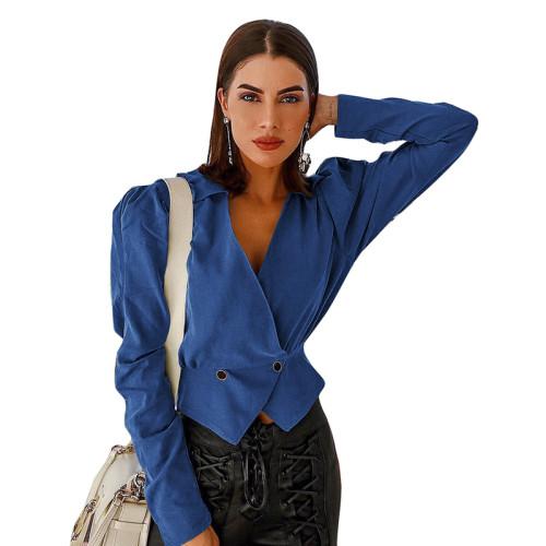 Blue V Neck Short Style Lady Blazer Suit TQS260012-5