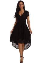 Black Wrap and Tie Lace Hi-lo Midi Dress
