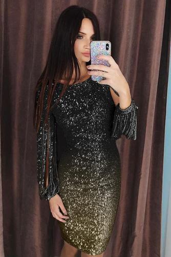 Black Ombre Sequin Tassel Sleeve Bodycon Evening Dress LC611528-2
