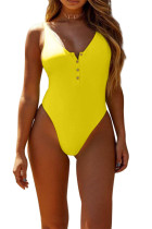 Yellow Snap Button Front Sunbathing Swimsuit LC411769-7