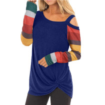 Wine Cold Shoulder Color Block Long Sleeves Tops TQK210250-103