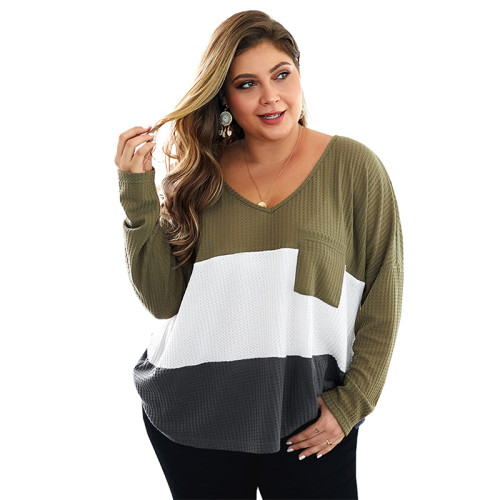 Army Green Colorblock V Neck Plus Size Knit Sweater TQK270022-27