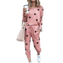 Pink Stars Print Long Sleeve Top and Pant Set TQK710094-10