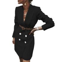 Black Button Detail Long Blazer Suit TQK260028-2