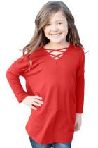 Red Long Sleeve Crisscross Top for Girls