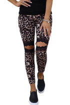 Floral Hollow Out Leopard Printed Skinny Leggings LC790100-20