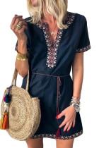 Blue Summer Boho Embroidered V Neck Short Sleeve Casual Mini Dress
