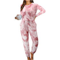 Rust Red Cotton Blend Long Sleeve Loungewear Jumpsuit TQK550202-3