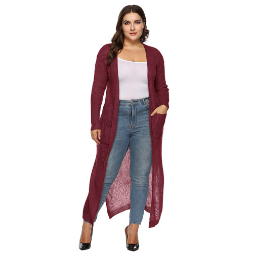 Wine Red Split Plus Size Cardigan With Pockets TQK270039P-103